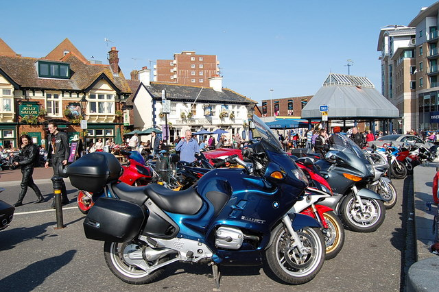 Bikes and bikers, Poole Quay, Dorset