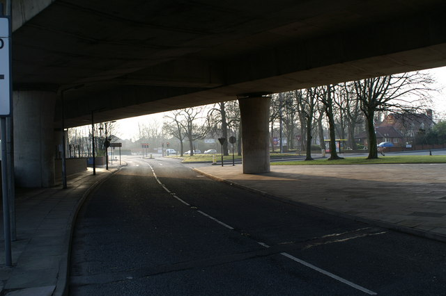 Underneath the start of the M62