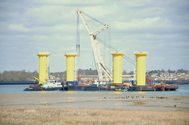 Crane barge Svanen off Brightlingsea