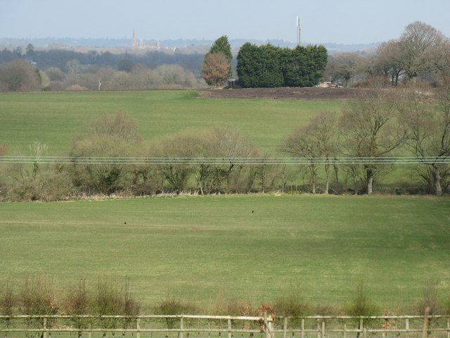 View across fields to Communication mast