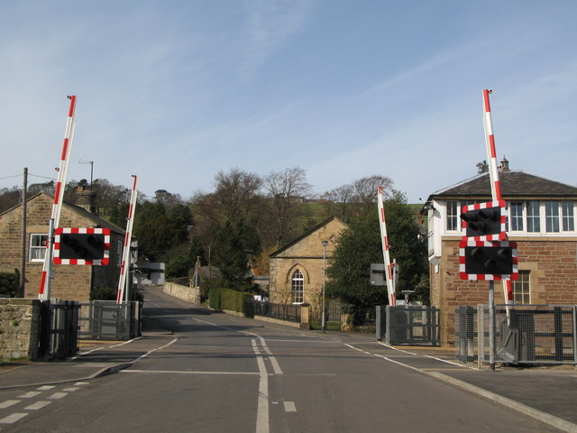 The new level crossing barriers at Haydon Bridge Station