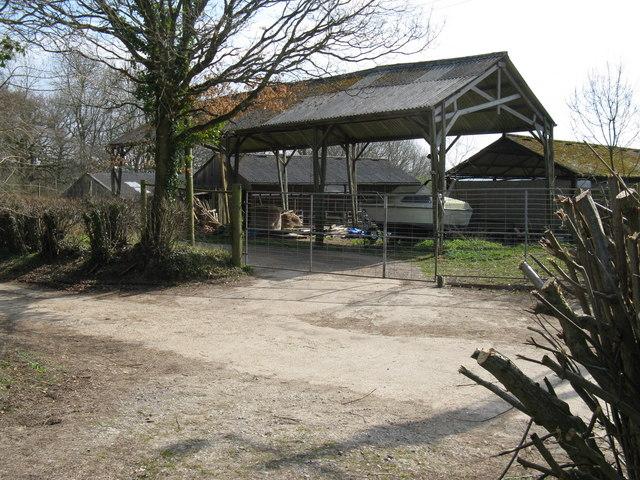 Barn with boat near Buckwish Farm