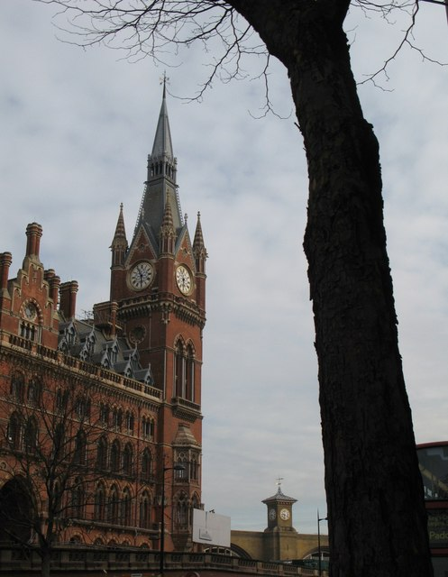 Clock towers on St. Pancras and King's Cross Stations