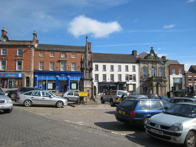 Ashbourne Market Cross and marketplace