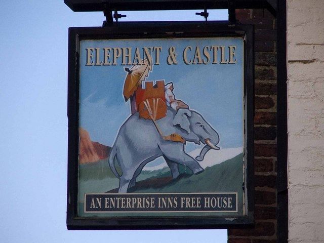 Elephant & Castle pub sign, Dawley