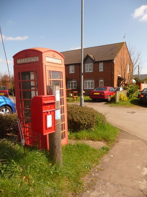 St. Edith�s Marsh: postbox № SN15 221 and redundant phone box