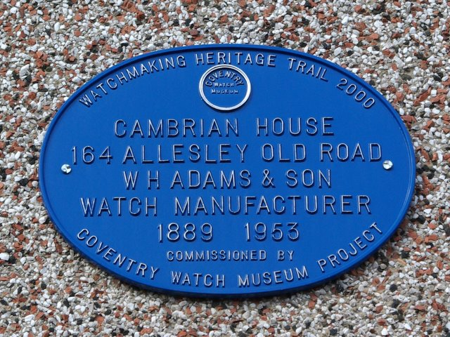 Coventry Watch Museum Project plaque on 164 Allesley Old Road