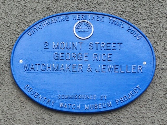 Coventry Watch Museum Project plaque on 2 Mount Street
