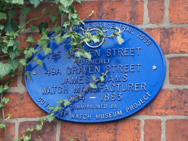 Coventry Watch Museum Project plaque on 125 Craven Street