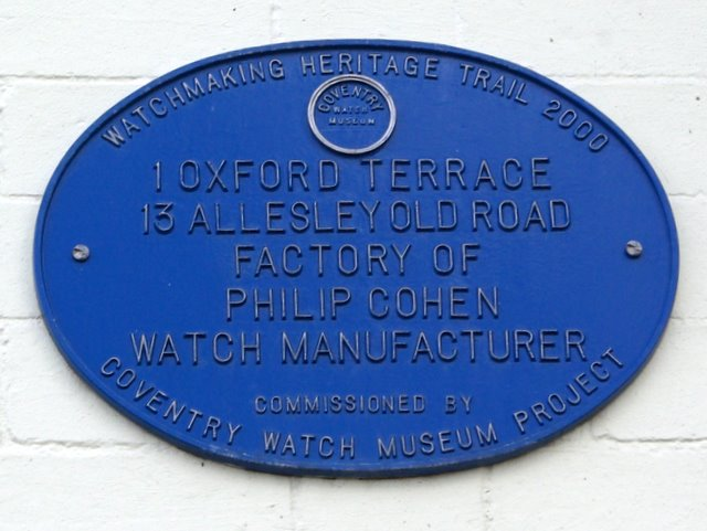 Coventry Watch Museum Project plaque on 13 Allesley Old Road