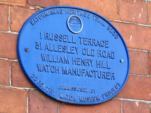 Coventry Watch Museum Project plaque on 31 Allesley Old Road