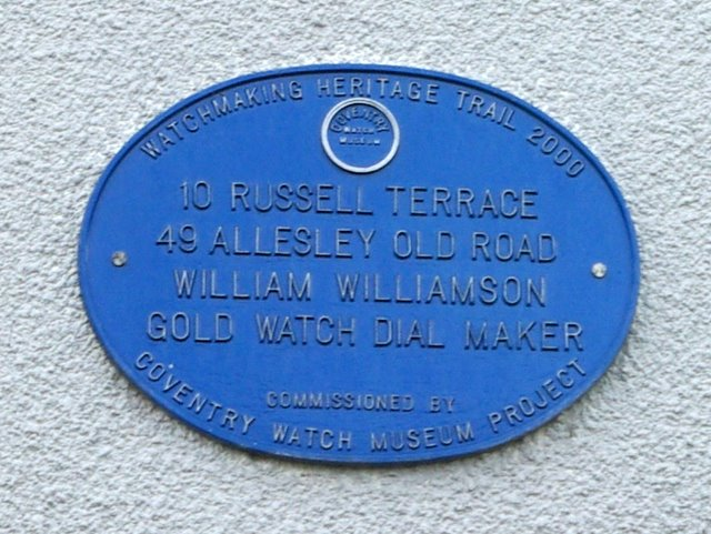 Coventry Watch Museum Project plaque on 49 Allesley Old Road