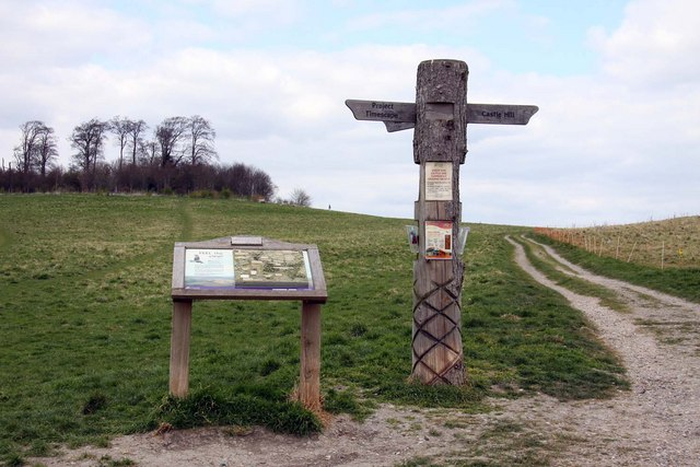 Relief map and signpost at the Sinodun Hills
