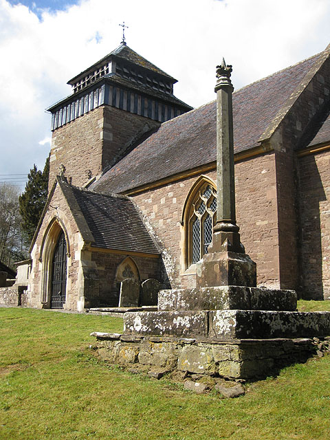 Church tower, Rockfield, and restored preaching cross