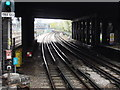 Dist:0.1km<br/>Here the Hammersmith and City line descends towards a tunnel that takes it under the Great Western Main line which can be seen to the left of the London Underground tracks