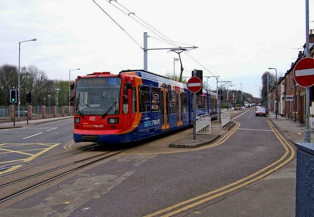 Sheffield Supertram No. 102 arriving at Malin Bridge terminus