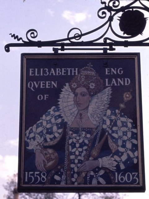 The reverse of the sign for the 'Elizabeth Queen of England' Public House