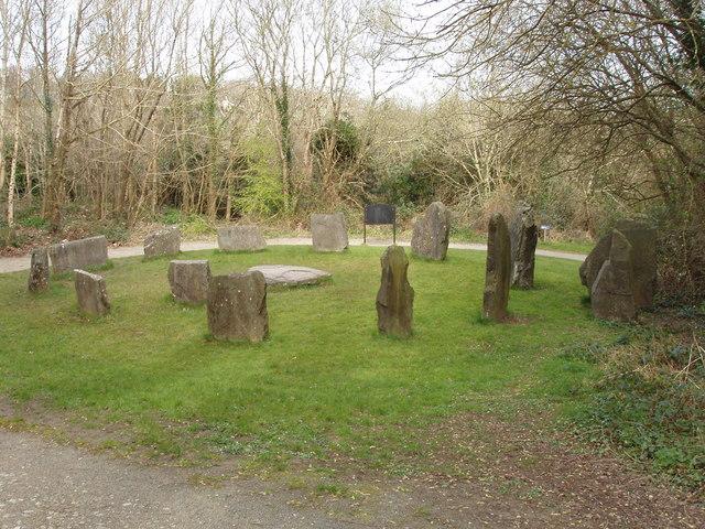Bronze age stone circle exhibit, Irish National Heritage Park