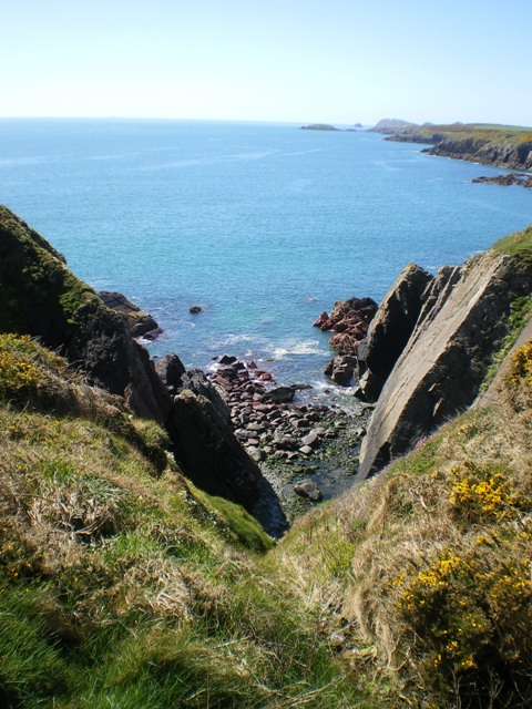 A zawn on the coast near Caerfai