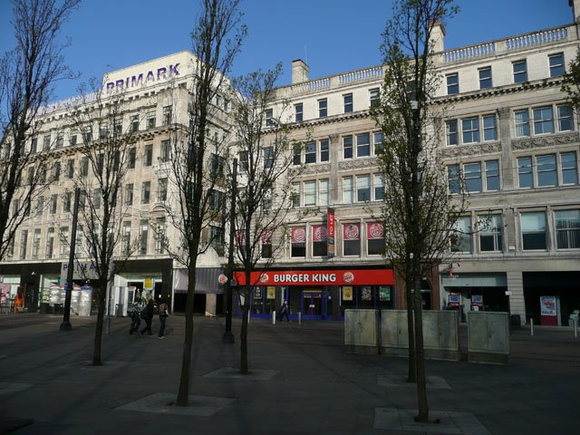 The western edge of Piccadilly Gardens