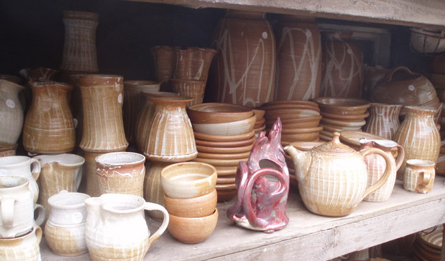 Pots in the yard of Crail Pottery