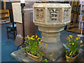 SJ7560 : Font of St Mary's Sandbach by Stephen Craven