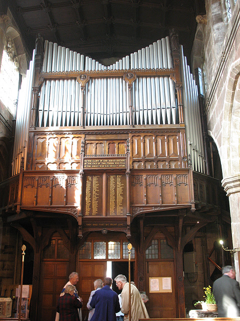 Old organ case and war memorial, St Mary's Sandbach