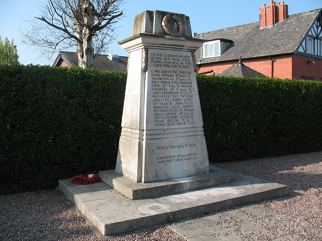 War memorial, Brooks Lane, Middlewich