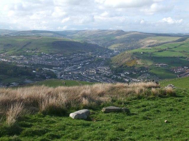 View of Porth from Mynydd y Glyn