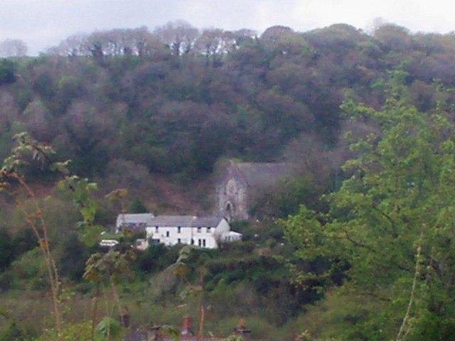 Looking across the valley at Calfaria Chapel, Login