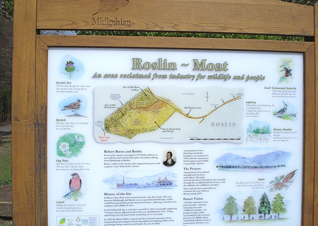 Notice Board at the entrance to the Moat Site, Roslin