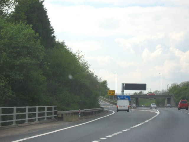 M42 Motorway Heading West, Junction 3 For The A435