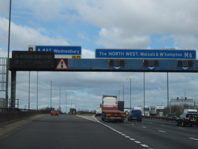 M6 Motorway Heading North - Junction 9 For A461 , Wednesbury