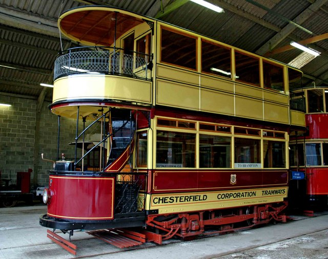 Chesterfield tram No. 7 at Crich Tramway Village