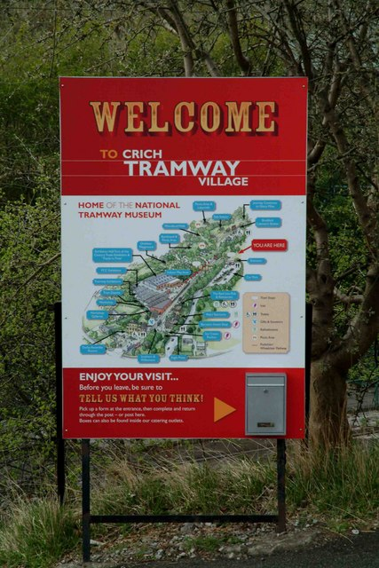 Crich Tramway Village welcome sign