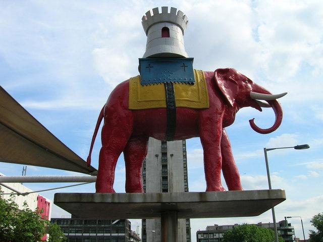 Elephant and castle outside Elephant and Castle Shopping Centre SE1