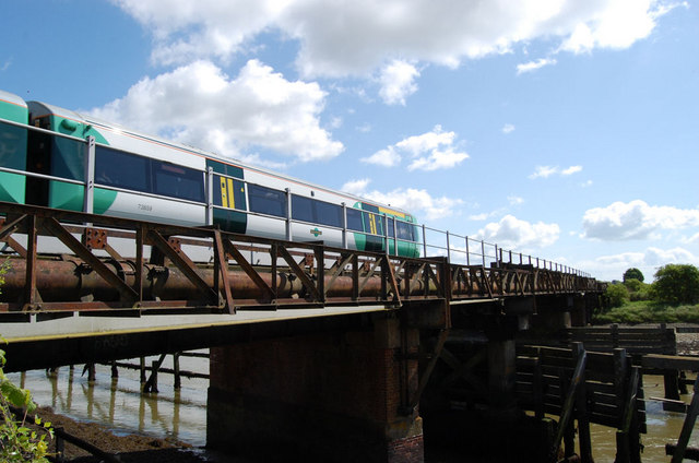 Train crossing the River Arun