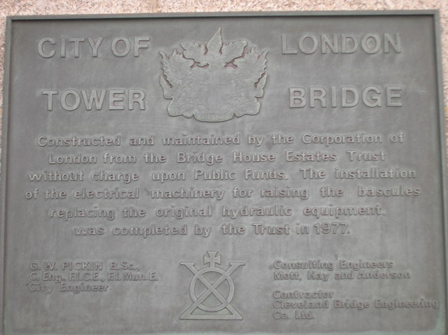 Plaque on Tower Bridge EC3