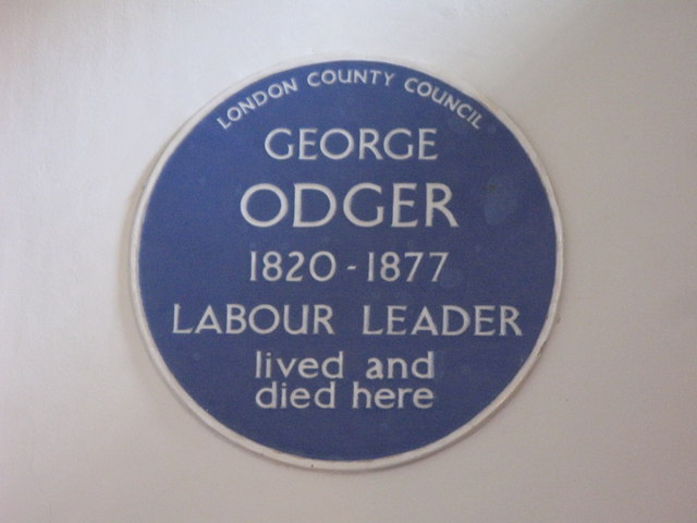 George Odger blue plaque - George Odger 1820-1877 Labour leader lived and died here