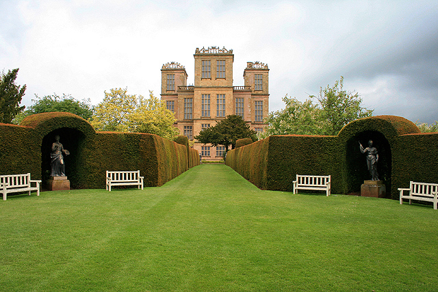 Hardwick Hall, with gardens in foreground