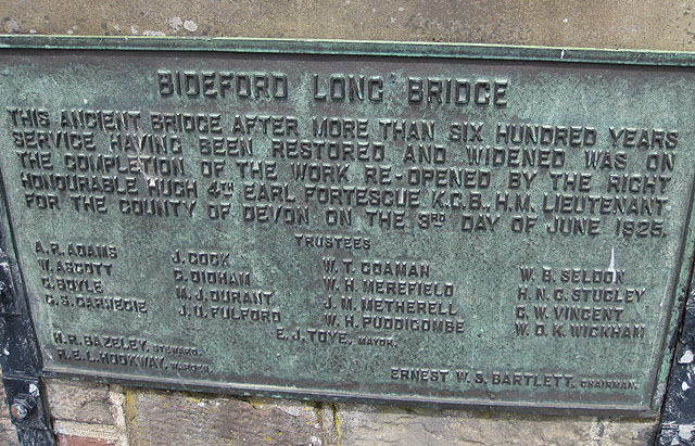 Information plaque, Bideford Long Bridge