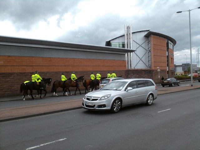 Horses and Police station at Edmiston Drive/Helen Street junction