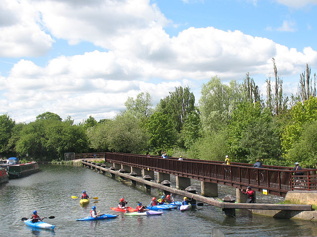 Kayaks on the Lea Navigation in Hertford
