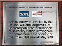 SP0483 : Cross-City line plaque, University station by Bob Embleton