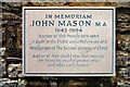 "SP6534 : Memorial to John Mason ""The Glory of the Church of England"" by Tiger"