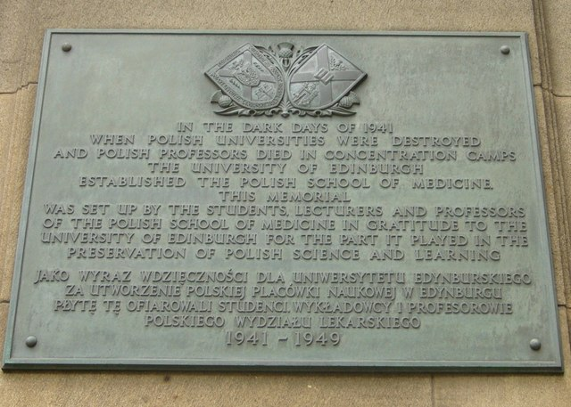 Polish School of Medicine plaque, Edinburgh Medical School