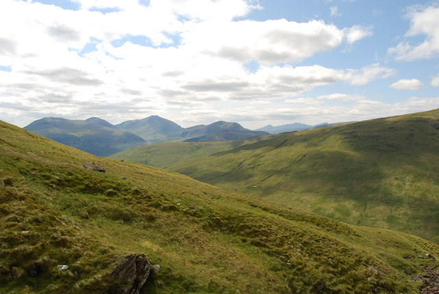 View across SW slopes of Ben Challum to Ben Lui and Ben Cruachan