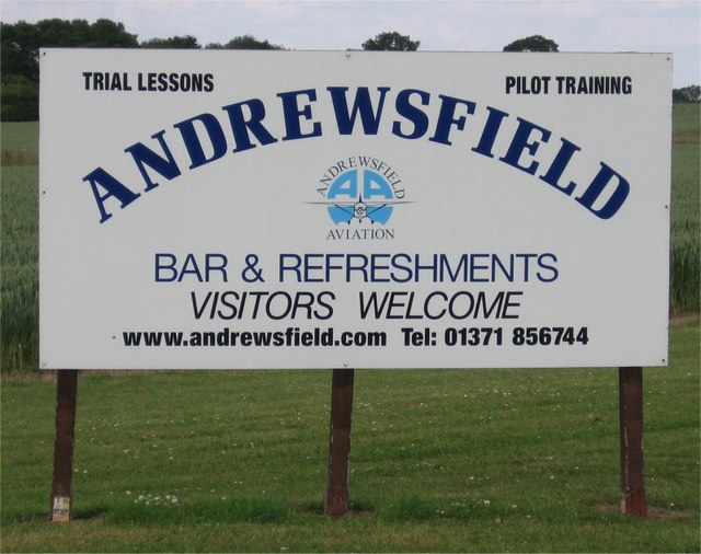 Andrewsfield Flying Club Sign, Great Saling, Essex
