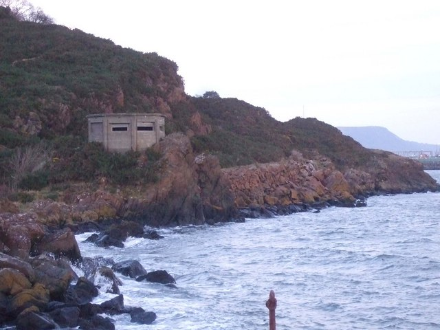 Pillbox and coastline at Braefoot Point