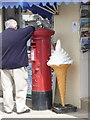 SY4690 : West Bay: postbox № DT6 35 and large ice cream by Chris Downer